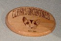 Glider's Uncensored woodburned sign.